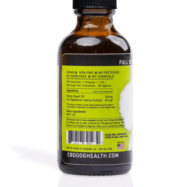 HEAL: CBD Tincture For Dogs 1100MG Bottle - Label view